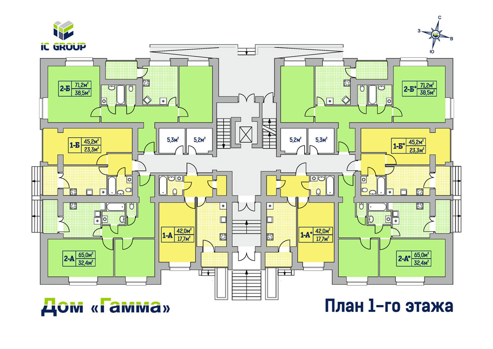 Дом Гамма. Планировки 1-го этажа