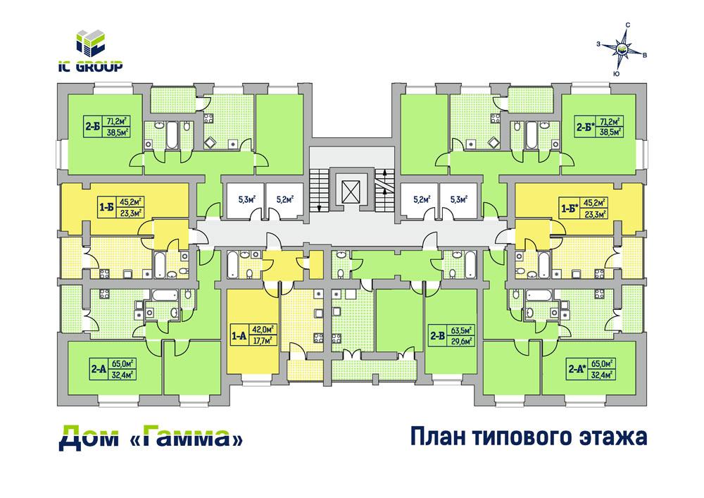Дом Гамма. Планировки с 2-го по 9-й этаж
